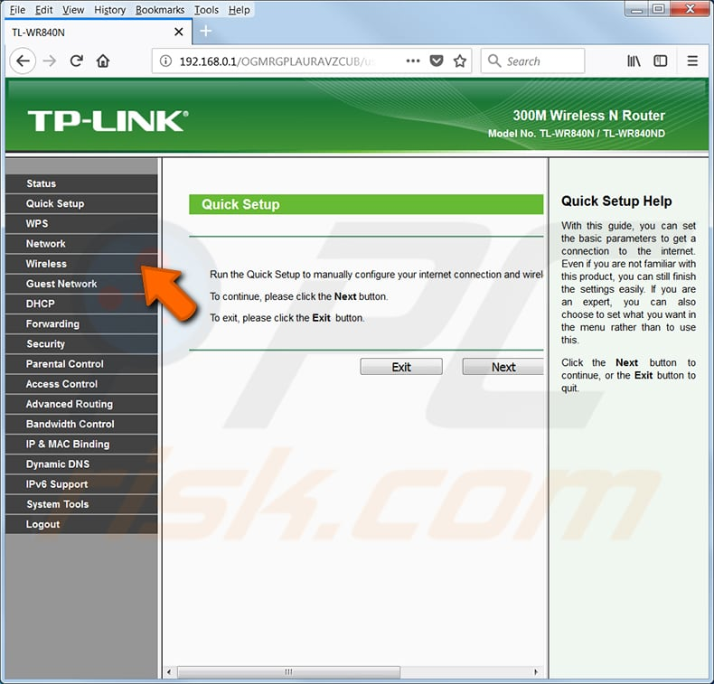 find your wi-fi password tp link tl-wr540n router step 1