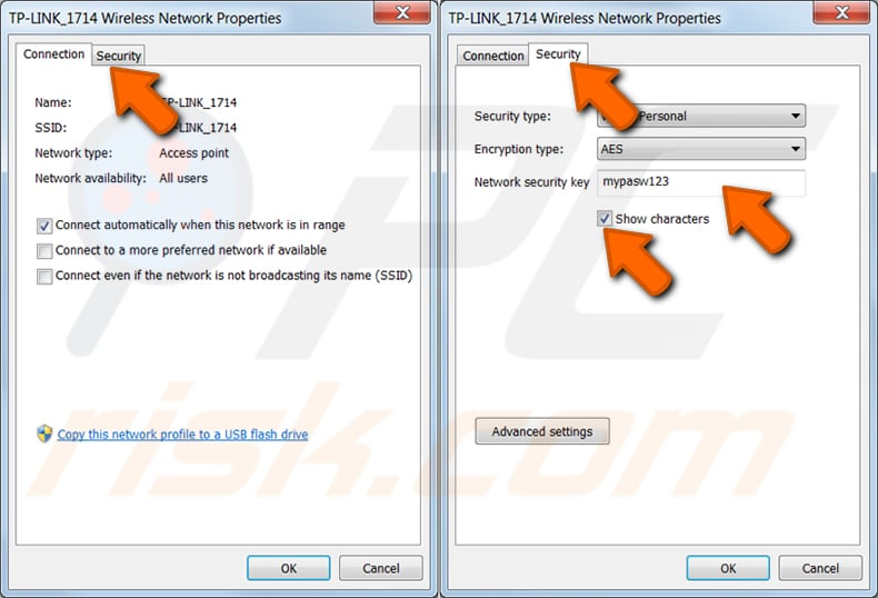 find wi-fi password of a network you previously connected in windows 7 step 4