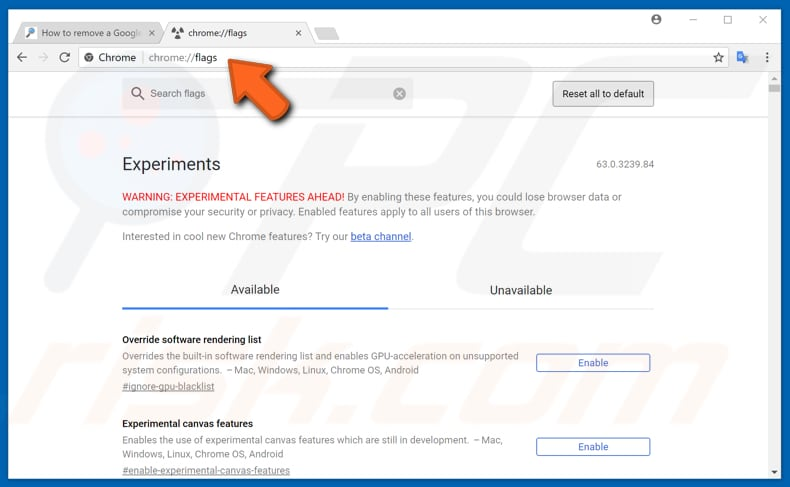 make your google chrome faster with experimental features step 1