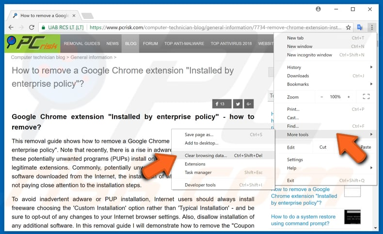 make your google chrome faster by clearing browsing data step 1