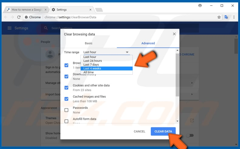 make your google chrome faster by clearing browsing data step 2