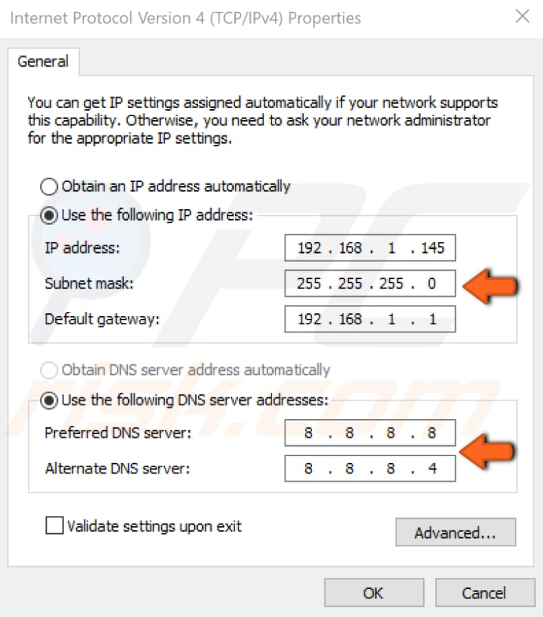 set your IP address manually step 5