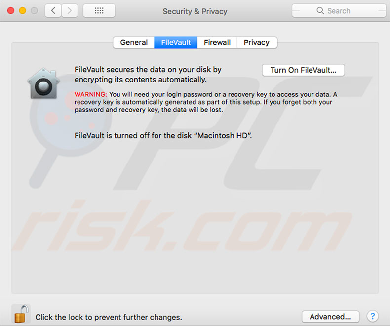 disable-filevault-macbook