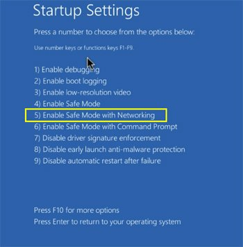 windows 10 safe mode with networking