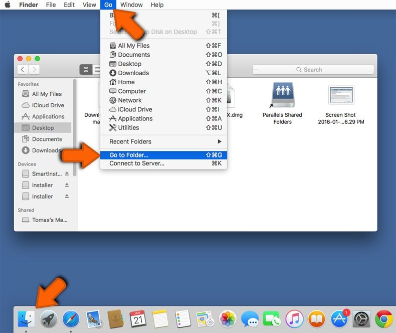 Finder go to folder command