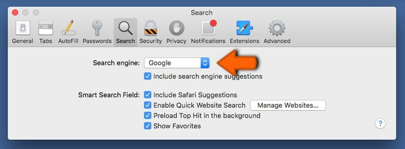 changing the default Internet search engine in Safari browser
