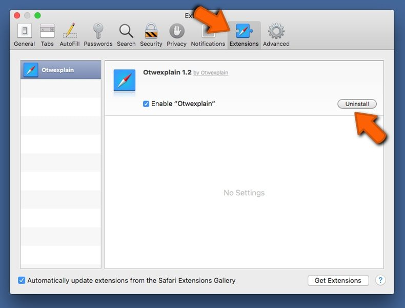 safari extensions window