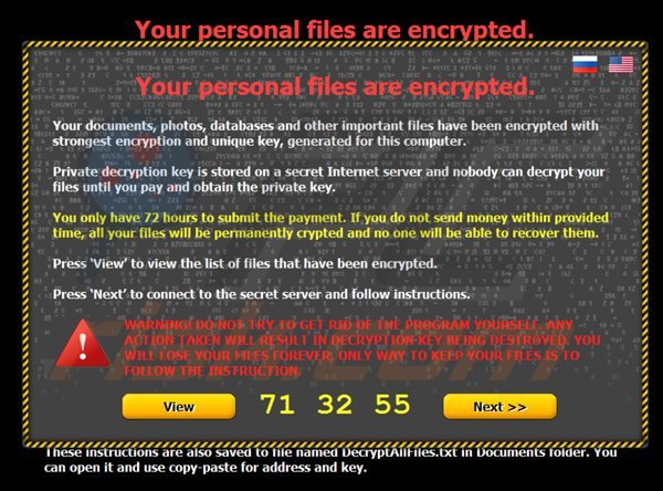 Ransomware Your personal files are encrypted (citroni)