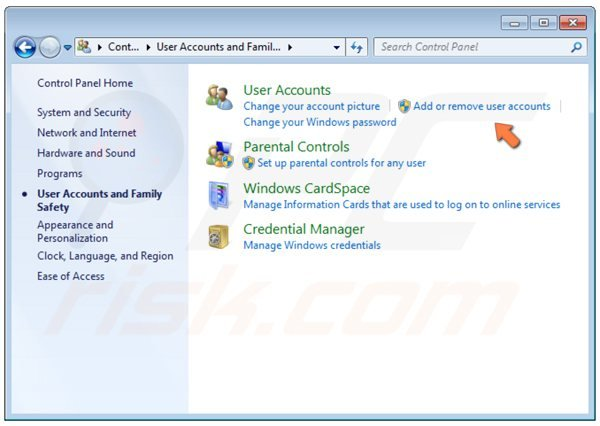 Windows 7 Control Panel - add or remove user accounts