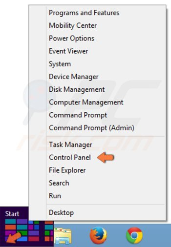 Turning on guest user on Windows 8 step 1 - accessing Control Panel