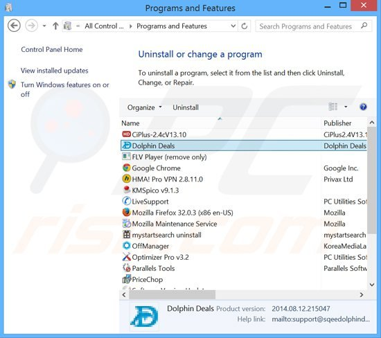 dolphin deals adware uninstall via Control Panel