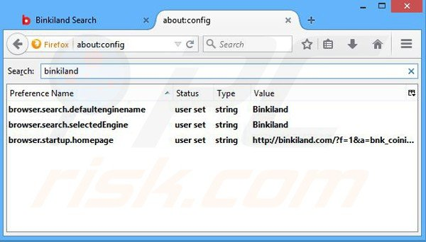 Removing binkiland.com from Mozilla Firefox default search engine