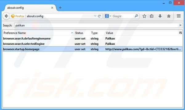Removing palikan.com from Mozilla Firefox default search engine