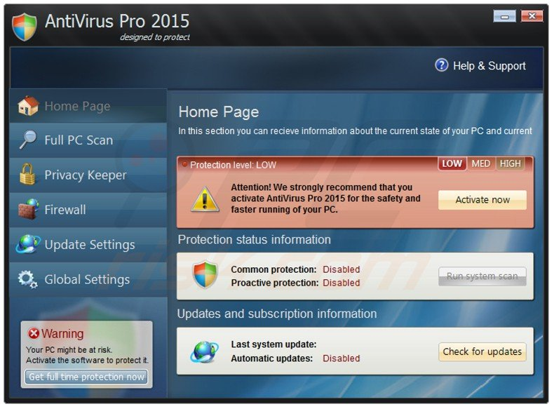 antivirus pro 2015 fake antivirus program