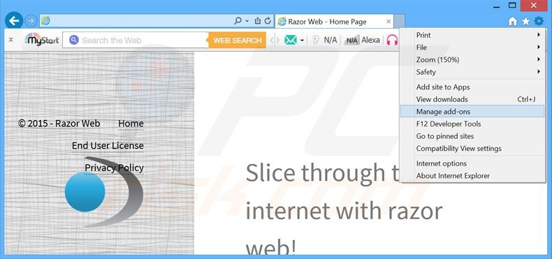 Removing razor web ads from Internet Explorer step 1