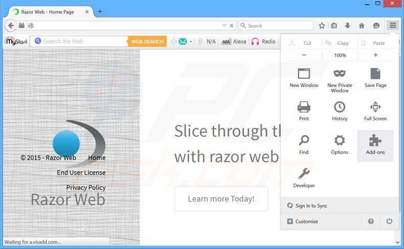 Removing razor web ads from Mozilla Firefox step 1