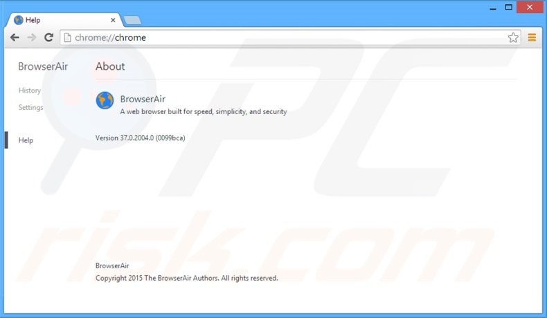 Chromium based BrowserAir Internet browser