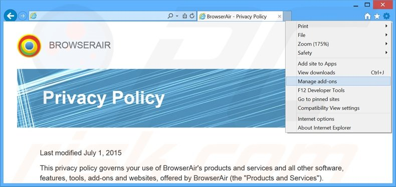 Removing BrowserAir ads from Internet Explorer step 1