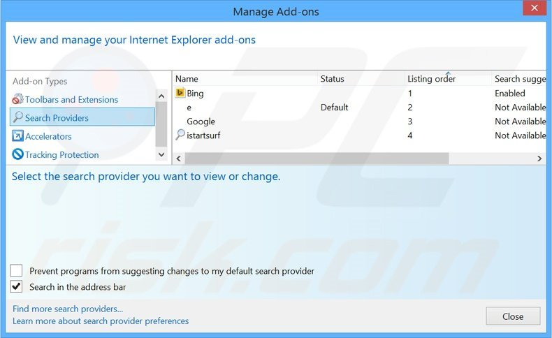 Removing safebrowsesearch.com from Internet Explorer default search engine