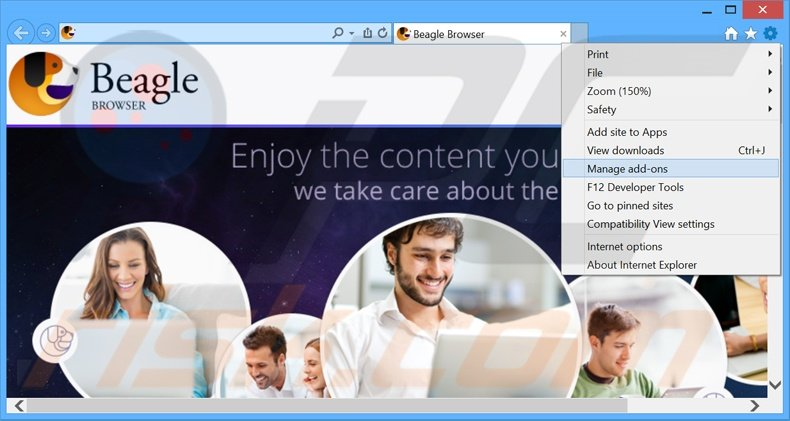 Removing BeagleBrowser ads from Internet Explorer step 1