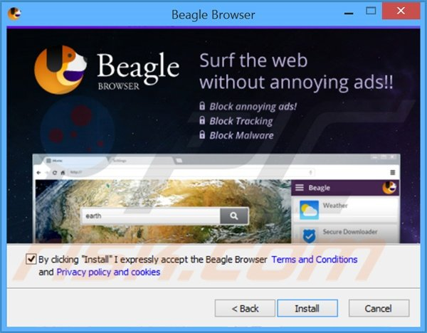 Deceptive Internet browser 'BeagleBrowser' installation setup