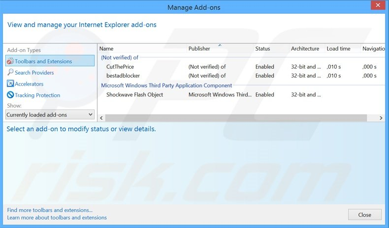 Removing Fusion Browser ads from Internet Explorer step 2