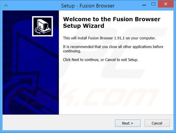 Official Fusion Browser adware installation setup