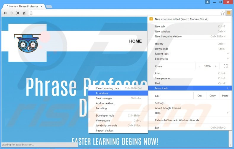 Removing PhraseProfessor  ads from Google Chrome step 1