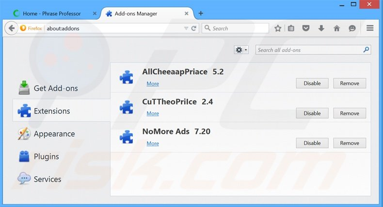 Removing PhraseProfessor ads from Mozilla Firefox step 2