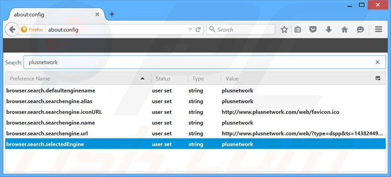 Removing plusnetwork.com from Mozilla Firefox default search engine