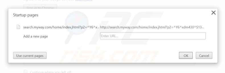 Removing search.myway.com from Google Chrome homepage