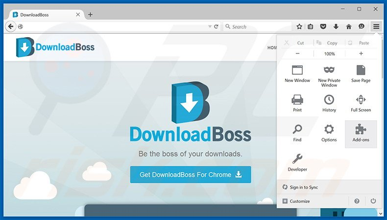 Removing DownloadBoss ads from Mozilla Firefox step 1