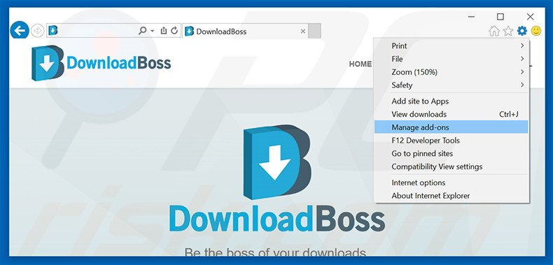 Removing DownloadBoss ads from Internet Explorer step 1