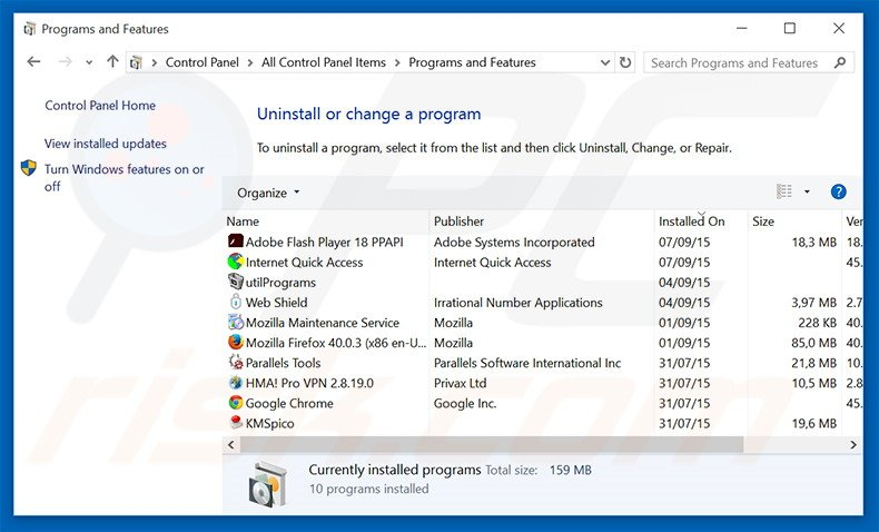 DownloadBoss adware uninstall via Control Panel