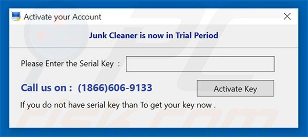 Junk Cleaner encouraging users to buy an activation key