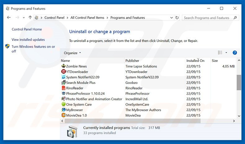 Junk Cleaner adware uninstall via Control Panel