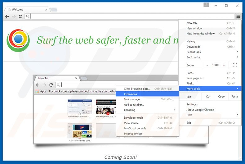 Removing MyBrowser  ads from Google Chrome step 1