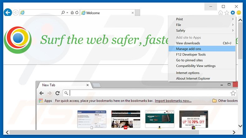 Removing MyBrowser ads from Internet Explorer step 1