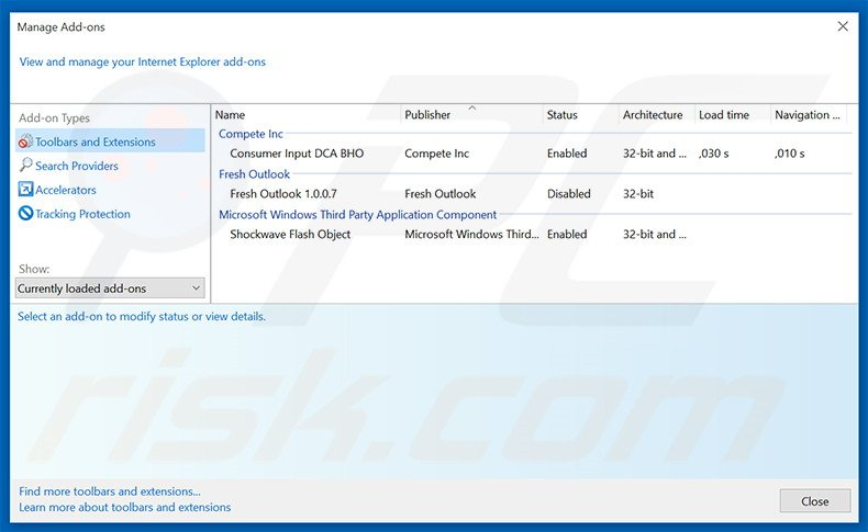 Removing YellowSend ads from Internet Explorer step 2