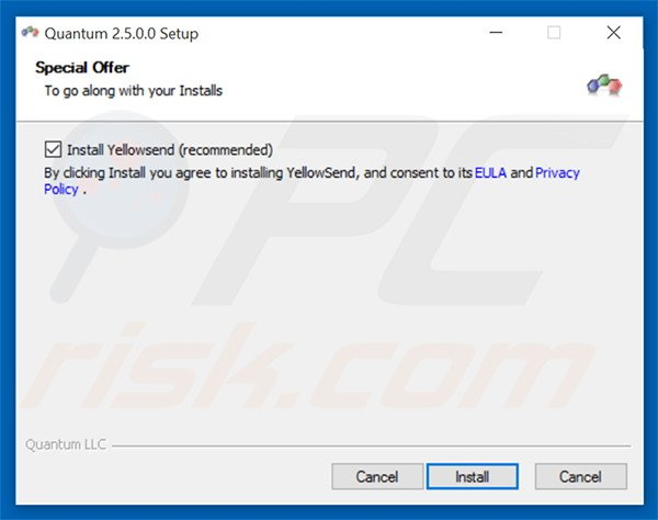 Delusive installation setup distributing YellowSend adware