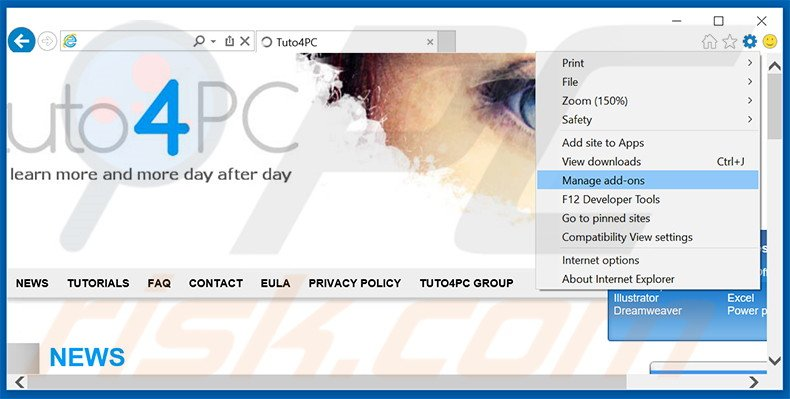 Removing eFast Browser ads from Internet Explorer step 1
