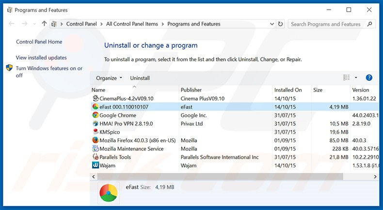 eFast Browser adware uninstall via Control Panel