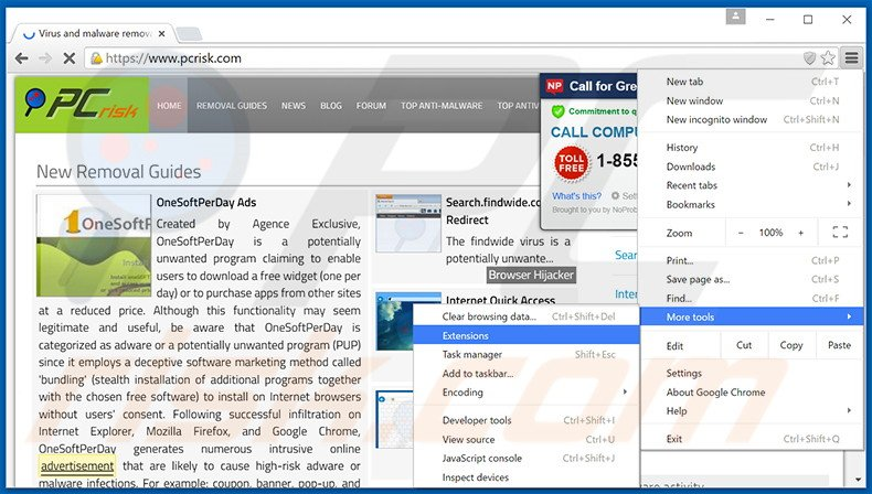 Removing Olcinium Browser  ads from Google Chrome step 1