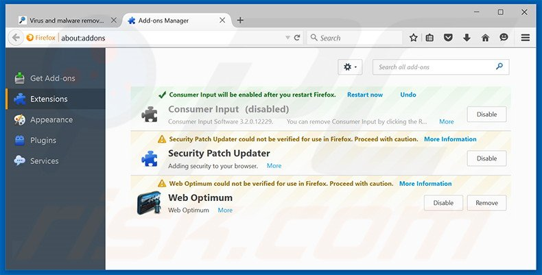 Removing Olcinium Browser ads from Mozilla Firefox step 2