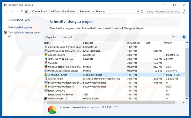 Olcinium Browser adware uninstall via Control Panel