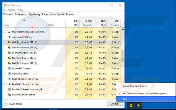 Ending Olcinium Browser task in the task manager