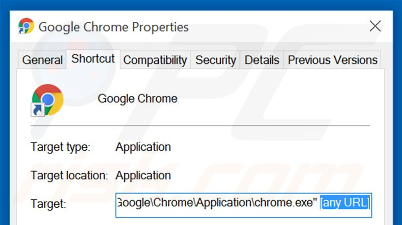 Removing bing.com from Google Chrome shortcut target step 2