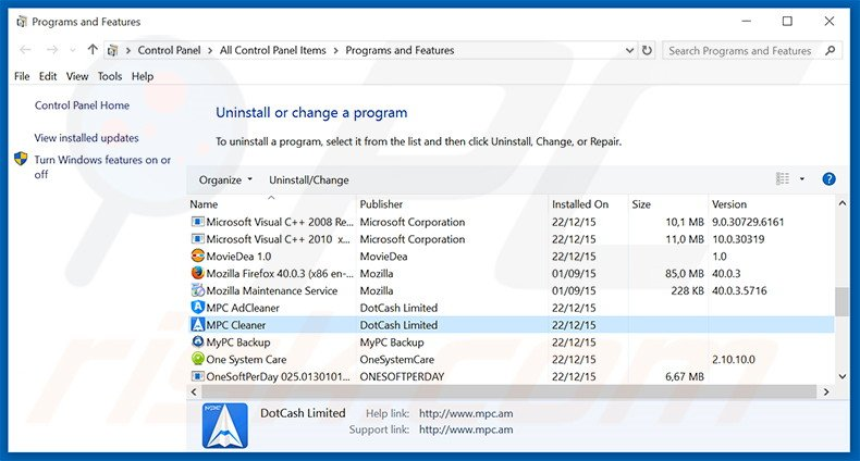 MPC Cleaner adware uninstall via Control Panel