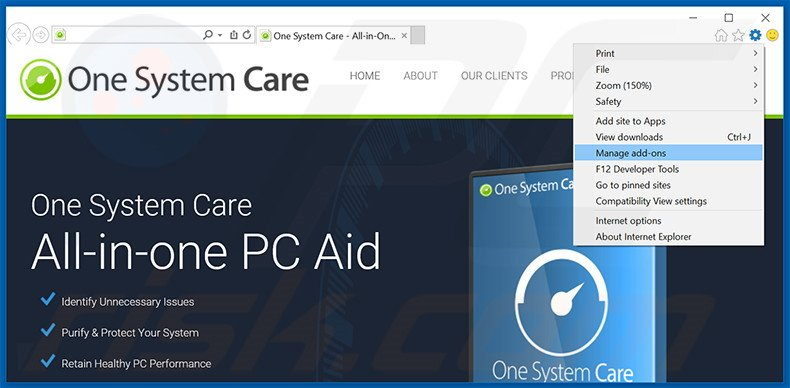 Removing One System Care ads from Internet Explorer step 1