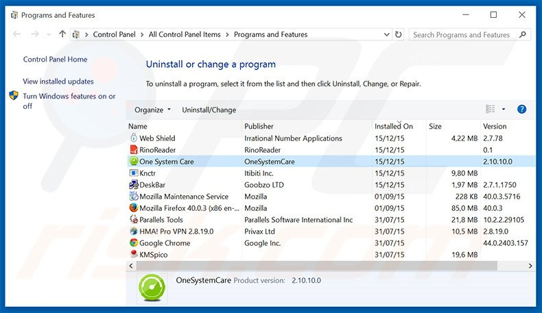 One System Care adware uninstall via Control Panel